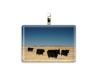 "Cow Jewelry ""On The Move"" Black Cow Pendant Cow Photo Necklace Farm Photo Pendant Country Art Jewelry Cow Necklace Country Jewelry Cow Lover"
