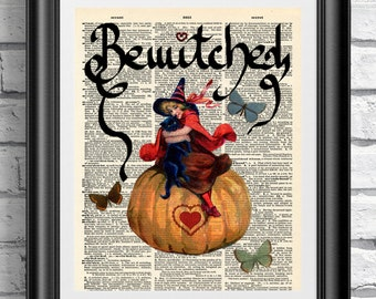 Bewitched art dictionary print. Artwork on antique dictionary book page. Vintage wall hanging witch and cat. Upcycled media halloween gift