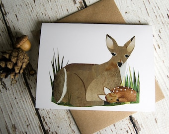Doe and Fawn Card of Original Collage