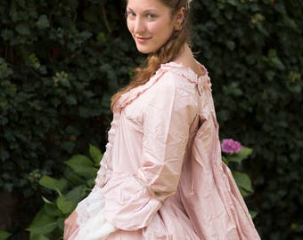 Sacque dress, Costume 18th century, Marie Antoinette, French dress 1760 in natural silk, unique piece, size 38-40 (S-M)