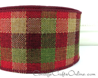 "Christmas Wired Ribbon, 2 1/2"" wide, Burgundy, Red, Green, Tan Faux Linen Plaid - TEN YARD ROLL -  ""Rustic""  Craft Wire Edged Ribbon"