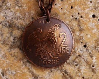 Domed Coin Necklace, Vintage Coin, Norway, Norge, 1971, 2 Ore, Black Grouse Bird, King Olav V, Repurposed Jewelry by Hendywood