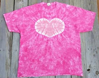 Women's Bright Pink Heart Tie Dye T-Shirt, S M L XL XXL 3XL, Valentine's Day Heart Shirt,  Women's Tie Dye, Pink Tie Dye