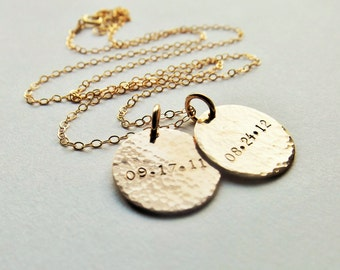 Hand Stamped Hammered Gold Date Charm Necklace // Cable Chain