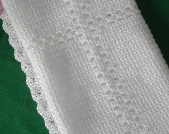 "Crochet Cross Baby First Blanket PDF ePattern Infant Baby Christening Gift Baptism Blanket, 25"" x 27"" (63 cm x 68 cm) approx"