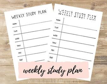 Weekly Study Plan: Bullet Journal Printable