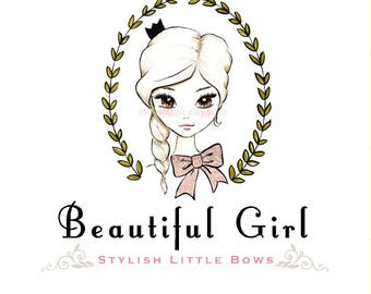 Beautiful Girl  OOAK Character Illustrated Premade Logo design-Will not be resold
