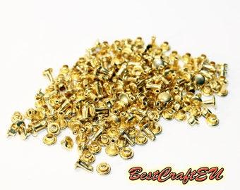 100psc double cap rivets, gold rivets, steel rivets, rivets for crafts, 6mm rivets. Rivets for leather.
