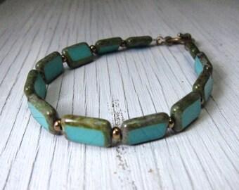 Turquoise Glass Bracelet, Czech Glass Bracelet