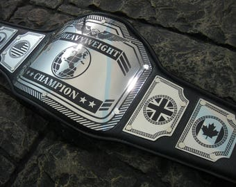 Heavyweight Championship Title Belt New Enforcer Model 30% larger plates than our other models! High quality steel plates hand crafted