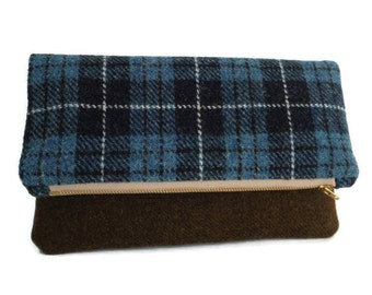 SALE - Harris Tweed - Foldover Clutch - Purse - Blue Check