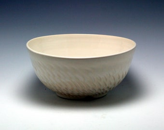 Large Handmade Ceramic Serving Bowl in Classic White with Hand Carved Texture/Ceramics and Pottery