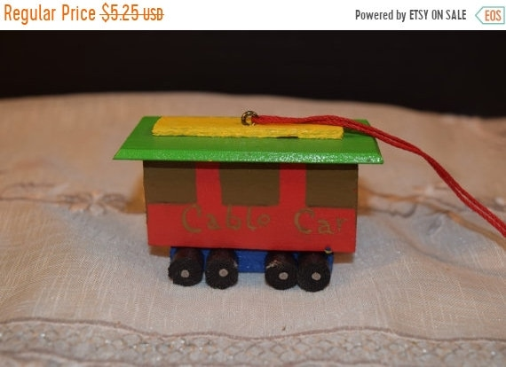 Delayed Shipping Christmas Handmade Cable Car Ornament Vintage Wooden San Francisco Christmas Tree Decoration Dated 1980 Christmas Collectib