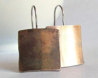 Bronze Minimalist Earrings - Square Earrings - Gift under 30 - 19th Anniversary Gift
