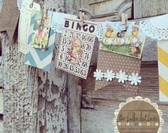 Easter Banner - Vintage Easter - Spring Banner - Easter Bunny - vintage EASTER junque banner - Easter party - Spring Garland - Burlap Banner