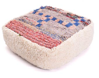Moroccan Pouf, Floor Cushion, Beni Ourain Pouf Ottoman, Floor Pillow, Foot Stool, Refashioned from a Moroccan Berber Rug. PVM035