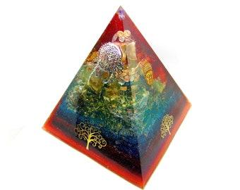 Orgone grande pyramide énergétique BOUDDHA zen inclusion de feuille d'or