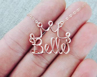 Disney Name Necklace with Handcrafted Crown in Rose Gold, Princess Name Necklace, Girls Name Gift, Personalized Gifts for Girls, #disney
