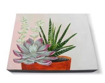 Succulent potted plant painting - original painting of succulents - houseplant art - modern succulent art - housewarming gift - minimalist