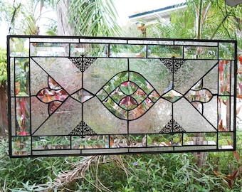 Stained Glass Window Panel, Stained Glass Transom Window, Beveled Glass Window Valance, Antique Look Window Treatment, Vintage Glass Panel