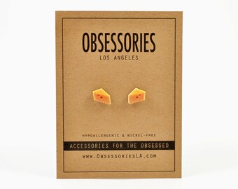 Cheese Earrings Stud Earrings Post Block Of Cheese Jewelry Cheese Accessories Miniature Food Earrings Mice Mouse & Cheese Gift Idea Kitschy