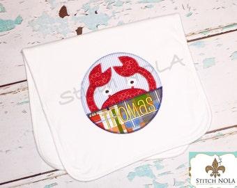 Bib OR burp cloth - Madras Plaid Crab Applique