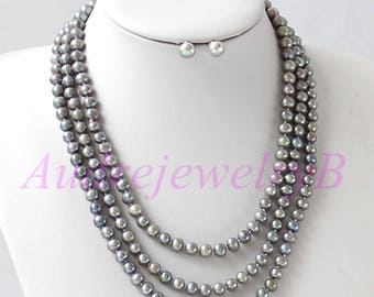 59 Inches Long Gray Pearl Necklace and earring set Statement Necklace Sweater Necklace