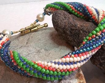 "Spiral Herringbone Bracelet - Hand Beadwoven - 7"""
