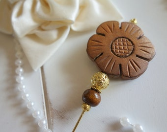 Gift for Mother's Day-hatpin-hatpin-* Wood flower *-Rococo, baroque art, Deco style Hutputz-pin, Ascot, Kentucky Derby