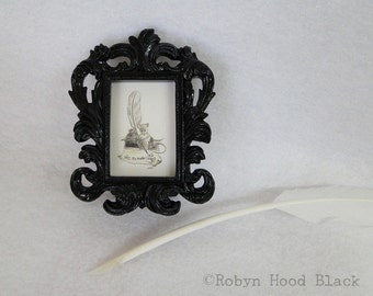 Miniature Writer Mouse in Small Black Frame