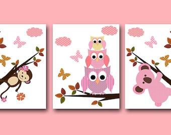 INSTANT DOWNLOAD Art Monkey Nursery Owl Decor Digital Print Baby Girl Nursery Decor Printable Art Digital Download Art set of 3 8x10 11X14