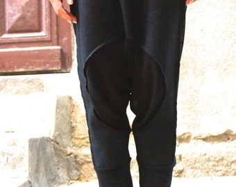 SALE NEW SS/15 Loose Casual  Black Drop Crotch Linen Knit Harem Pants / Extravagant Black Pants by Aakasha_A05167