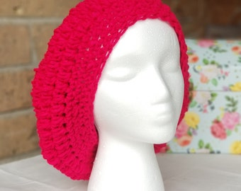 Slouchy Crochet Hat, Woman's Hat, Hot Pink, Spring or Winter hat
