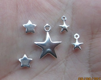 Sterling Silver Star Charms or Beads