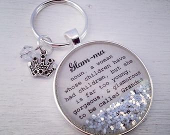 Glam-ma definition keychain,  Grandma keychain, Glam-ma gift, new grandma gift, Glam-ma keychain, Grandma gift, Mother's Day gift