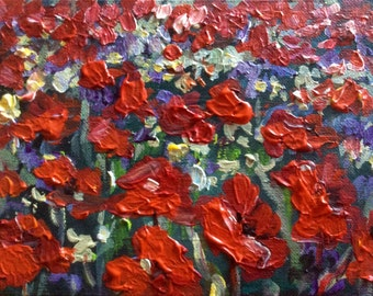 """Red Poppies  original floral textured painting 6 x 8"""""""