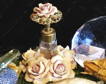 Custom DUSTY ROSE Crystal POTION Fairy OOaK, Made for You, Magic, Pagan, Wicca, Flower