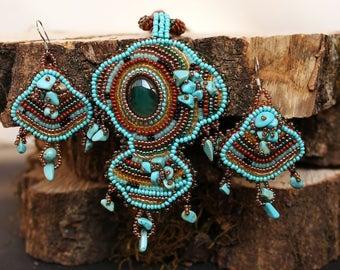 Turquoise jewelry set Armenian handmade Beaded pendant earrings Artisan Ready to ship Agate Boho jewelry one of a kind seedbead necklace