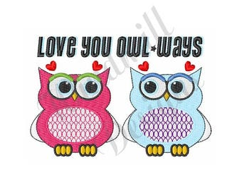 Love You Owl Ways - Machine Embroidery Design