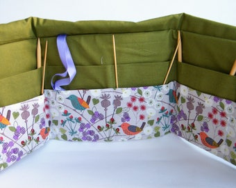 Circular Knitting Needle Case. Hedgerow fabric.