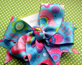 Signs of Spring XL Diva Bow in Turquoise