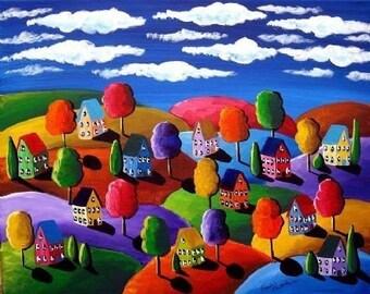 Fall Day Colorful Whimsical Folk Art Landscape Giclee Print
