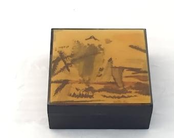 Vintage Gonzinta, Gonzinta Box, Mai Salem Massachusetts, 1970s Gonzinta Box, Trinket box, 1970 trinket boxes, jewelry box