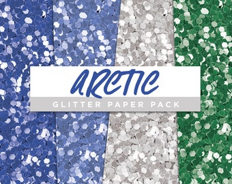 Arctic Collection Glitter Seamless Paper Pack // Seamless Pattern Digital Papers Planner Stickers Clipart Digital Scrapbooking
