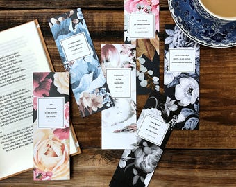 Literary Bookmarks, Set of Six, Literary Gift for Her, Floral Bookmark, English Teacher Gift for Her, English Major