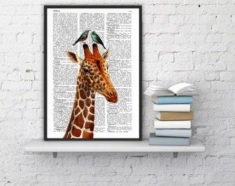 gift Honeymoon Giraffe Wall Hanging,GIRAFFE Print, Giraffe decor, Giraffe Wall, Giraffe Wall Decor, Giraffe Painting ANI006