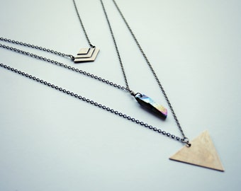 quartz layer necklace, triangle layer necklace,  chevron layer necklace, geometric layer necklace, crystal layer necklace