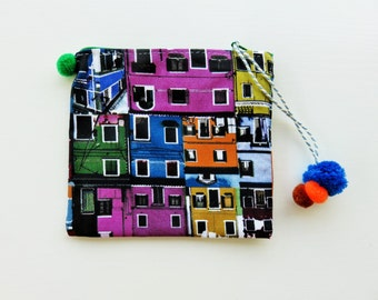 colorful pouch, fabric zipper pouch pom pom pouch, fabric purse, zipper coin purse, small wallet, designer fabric, unique gift for her