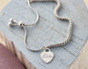 Personalised Sterling Silver Charm Friendship Bracelet (HBB97)