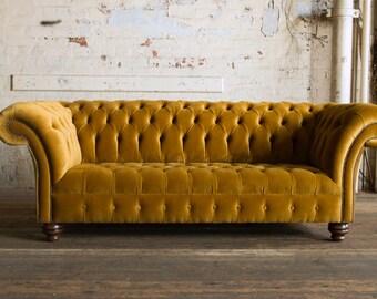 Handmade Mustard Gold Velvet 3 Seater Chesterfield Sofa